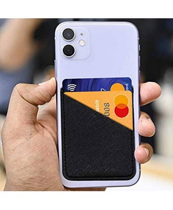Phone Pocket Wallet Card Holder Stick on Leather Adhesive Sticker for Back of Cell PhoneBlack