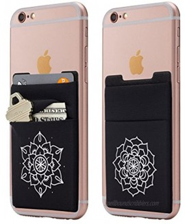 Two Stretchy Mandala Cell Phone Stick on Wallet Card Holder Phone Pocket for iPhone Android and All Smartphones. Floral