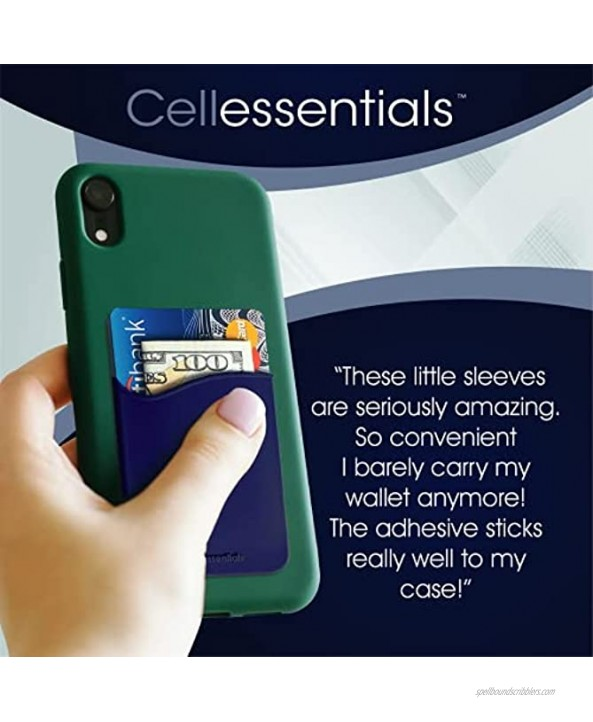USA Merchant Cellessentials Redesigned Card Holder Silicone Stick on Cell Phone Wallet with Pocket for Credit Card ID Business Card iPhone Android & Smartphones Navy