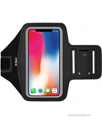 i2 Gear Armband Compatible with iPhone Xs X Samsung Galaxy S10 S9 S8 S7 Google Pixel 2 3 Reflective Arm Band Phone Holder for Running & Exercise Large