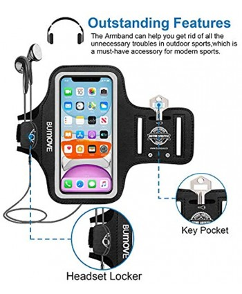 iPhone 11 XR Armband BUMOVE Gym Running Workouts Sports Cell Phone Arm Band for iPhone 11 XR with Key Card Holder Black