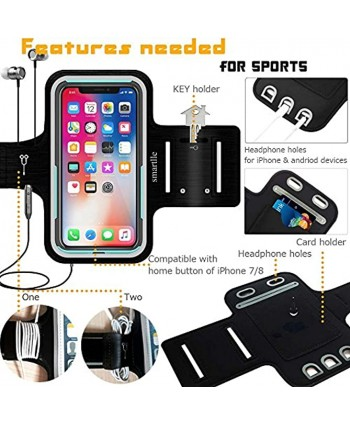 Smartlle Phone Holder for Running Universal Armband for Cellphone iPhone 12 12 Pro 11 11 Pro XR XS X SE 8 7 6s 6 Samsung Galaxy A S J LG Moto Pixel Up to 6.1'' for Gym Sports Workout-Black