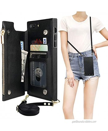 Bocasal Crossbody Wallet Case for iPhone 7 Plus 8 Plus with Card Holder,Zipper Card Slot Protector Shockproof Purse Cover with Removable Cross Body Strap 5.5 InchBlack