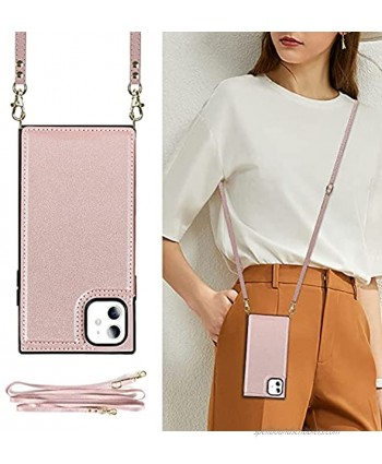 DEFBSC Wallet iPhone 11 Case Crossbody Phone Case for iPhone 11 Lanyard Neck Strap with Kickstand Leather Card Holder Adjustable Detachable Necklace Phone Protective Back Cover-Rose Gold