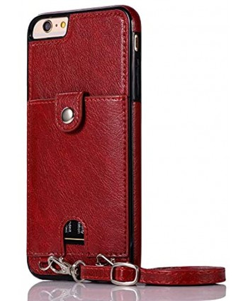 Jaorty PU Leather Wallet Case for iPhone 6 6S Necklace Lanyard Case Cover with Card Holder Adjustable Detachable Anti-Lost Neck Strap for 4.7 inch Apple iPhone 6 iPhone 6S,Red