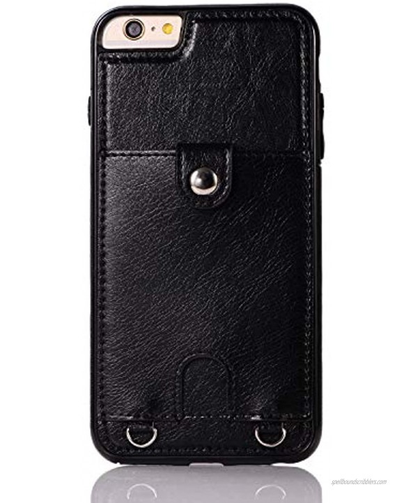 Jaorty PU Leather Wallet Case for iPhone 6 Plus 6S Plus Necklace Lanyard Case Cover with Card Holder Adjustable Detachable Anti-Lost Neck Strap for 5.5 inch Apple iPhone 6 Plus,iPhone 6S Plus,Black