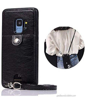 Jaorty PU Leather Wallet Case for Samsung Galaxy S9 Plus Necklace Lanyard Case Cover with Card Holder Adjustable Detachable Anti-Lost Neck Strap Case for Samsung Galaxy S9 Plus,Black