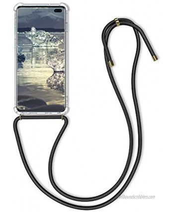 kwmobile Crossbody Case Compatible with Samsung Galaxy S10 Plus Case Clear TPU Phone Cover w Lanyard Cord Strap Transparent Black
