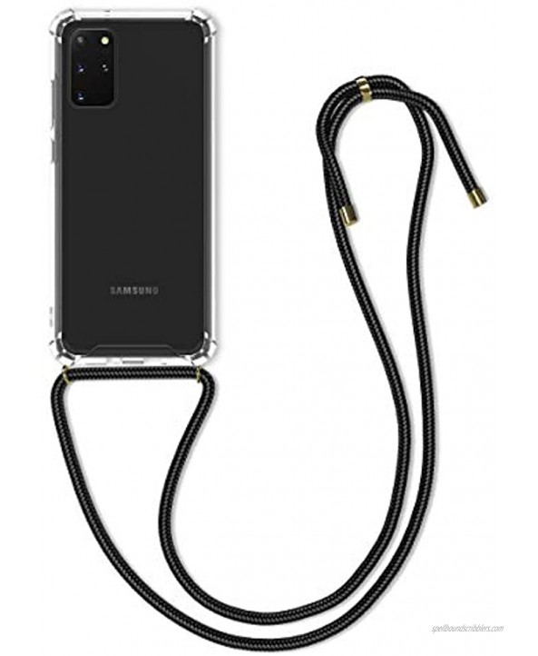 kwmobile Crossbody Case Compatible with Samsung Galaxy S20 Plus Case Clear TPU Phone Cover w Lanyard Cord Strap Black Transparent