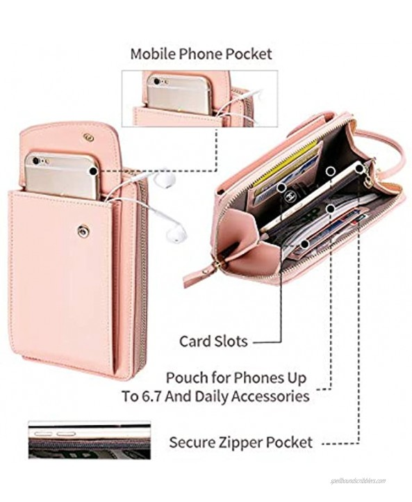 LLi Cufite Leather Crossbody Cellphone Shoulder Bag Zipper Wallet Clutch Purse with Card Holder Coin Pouch