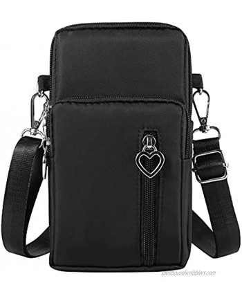 Nylon Cell Phone Purse Wallet Small Crossbody Phone Bag Pouch with Wrist Strap & Adjustable Shoulder Straps Black