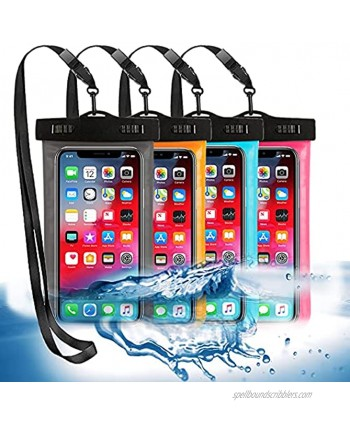 """4 Pack Universal Waterproof Phone Pouch Large Phone Waterproof Case Dry Bag IPX8 Outdoor Sports for Apple iPhone Pro XS XR XS 12 11 10 9 8 7 6 Plus,SE Samsung S10 S10+ S9+ S9 S8+,Note,up to 6.5"""""""