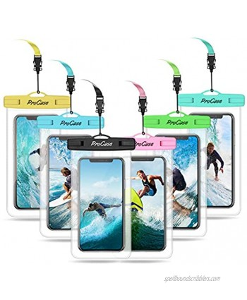 """ProCase Universal Waterproof Pouch Cellphone Dry Bag Underwater Case for iPhone 13 Pro Max Mini 12 11 Pro Max Xs Max XR 8 7 SE Galaxy S20 up to 7"""" Waterproof Phone Case for Beach -6 Pack"""