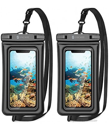 """Syncwire Waterproof Phone Pouch 2 Pack IPX8 Waterproof Case Underwater Dry Bag Compatible with iPhone 12 SE2 11 Pro XS Max XR X 8 7 6s Plus Galaxy S10 S9 Note 10 Google Pixel Up to 7"""""""