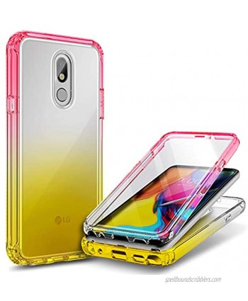 E-Began Case Compatible for LG Stylo 5 with [Built-in Screen Protector] LG Stylo 5V Stylo 5X Stylo 5 Plus Full-Body Protective Rugged Bumper Cover Shockproof Impact Resist Case -Pink Yellow