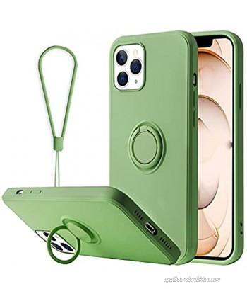 Kanghar Designed for iPhone 13 Pro Case Silicone Rubber with Ring Holder Kickstand Magnetic Stand Screen Protector for Women Girl Liquid Silicone Protective Bumper Cover Strap for iPhone 13 Pro Green