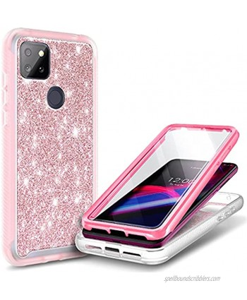 NZND Case for T-Mobile REVVL 5G with Built-in Screen Protector Full-Body Protective Shockproof Rugged Bumper Cover Impact Resist Durable Phone Case -Glitter Rose Gold