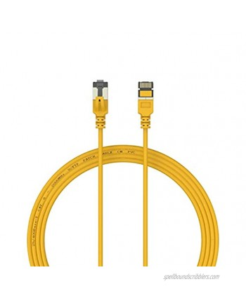 Nanosecond COLORTHIN CAT 8 Ethernet Cable Super Slim and High Speed Cat8 LAN Network Cable. 40Gbps 2000Mhz with Gold Plated Rj45 Connector for Gaming Router Modem Server 3 FT Yellow