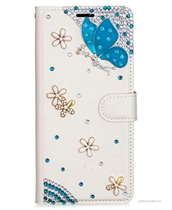 Compatible with LG Stylo 6 LG K71 with 2 Screen Protector Temperd Film & Straps,3D Handmade Bling Design Magnetic Wallet Stand Leather Cover Case Flowers Blue Butterfly