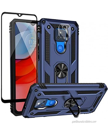 Dretal for Motorola Moto G Play 2021 Case with Tempered Glass Screen Protector and Camera Screen Protector Military Grade Shockproof Protective Case Cover with Rotating Holder Kickstand JS-Navy