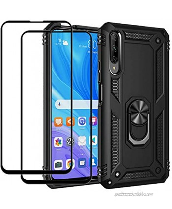 EasyLifeGo for Huawei Y9s Huawei P Smart Pro 2019 Kickstand Case with Screen Protector Tempered Glass [2 Pieces] Hybrid Heavy Duty Armor Dual Layer Anti-Scratch Case Cover Black