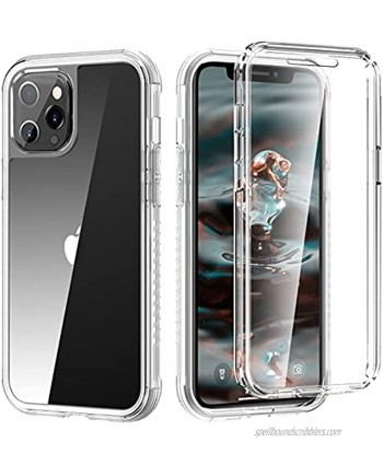 Omio for iPhone 12 Pro Max Case with Built-in Screen Protector 360 Full Body Protective Phone Case for iPhone 12 Pro Max Heavy Shockproof Anti-Scratch Rugged Case for iPhone 12 Pro Max Clear.