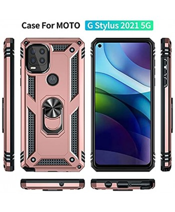 QCMM Compatible for Motorola Moto G Stylus 5G Kickstand Case with Screen Protector Tempered Glass [2 Pieces] Hybrid Heavy Duty Armor Dual Layer Anti-Scratch Case Cover Rose Gold