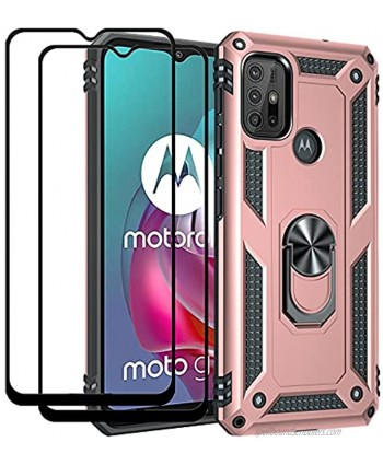 QCMM Compatible for Motorola Moto G10 Moto G30 Kickstand Case with Screen Protector Tempered Glass [2 Pieces] Hybrid Heavy Duty Armor Dual Layer Anti-Scratch Case Cover Rose Gold