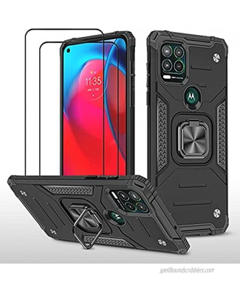 ZMONE Case Compatible for Motorola Moto G Stylus 5G Case with Screen Protector [2 Pack] Military Grade Heavy Duty Shockproof Case Cover with Magnetic Ring Kickstand Black
