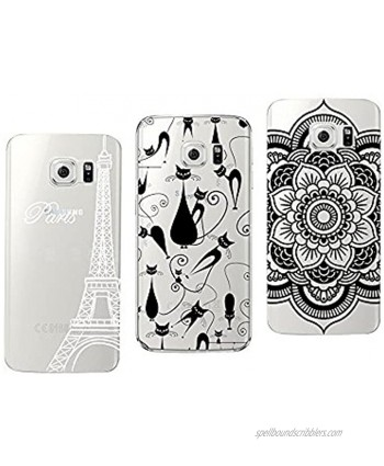 Novago Galaxy S6 Edge Pack of 3 Solid Soft Gel Cases with Fantasy Print for Samsung Galaxy S6 Edge Pack of 1