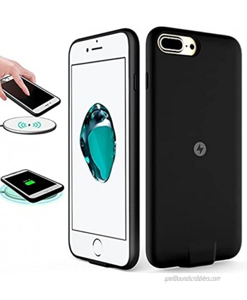 QI OCEANLOVE Wireless Charger Charging Receiver Case for iPhone 7plus 6Splus 6plus NO Battery Built-in and Port Lightning Cable Data Sync Shockproof Protective Black