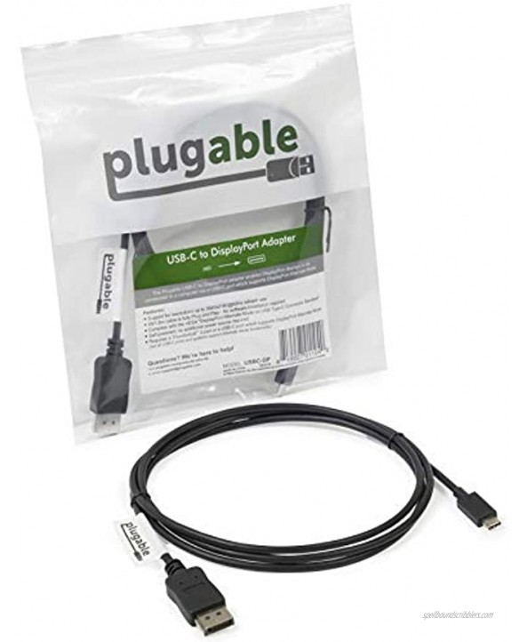 Plugable USB C to DisplayPort Adapter 6ft 1.8m Adapter Cable Supports Resolutions up to 4K at 60Hz