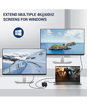 USB C to Dual HDMI Adapter NEWCARE 4K@60Hz Type C to HDMI Converter Supports Extend Multiple Screens with 3.5mm Audio Out Thunderbolt 3 Port Compatible with Dell HP MacBook Surface ipad Phone