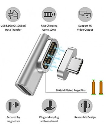 USB C Magnetic Adapter 20Pins Magnetic Charger Type C Adapter Supports USB PD 100W Quick Charge 10Gb s Data Transfer and 4K@60Hz Video Output Compatible with MacBook Pro Air and More USB C Devices