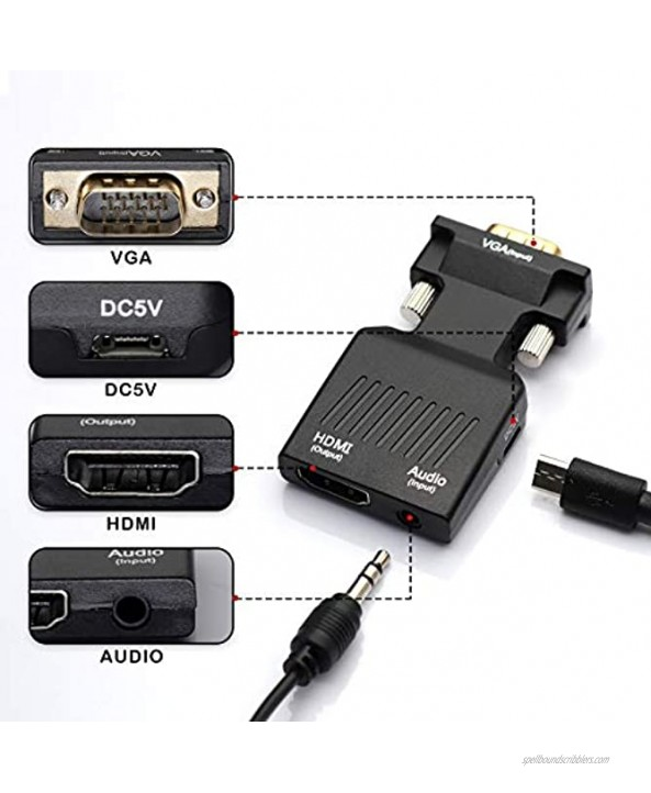 DeepRoar VGA to HDMI Cable Adapter Converter with Audio for PC Laptop Projector Black