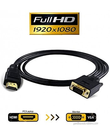 HDMI to VGA VAlinks 1080P HDMI to VGA Adapter Male to Male Video Converter Support Convert Signal from HDMI Input Laptop HDTV to VGA Output Monitors Projector-1.8m 6ft hdmi to vga 1.8m 6ft