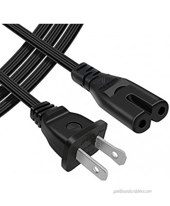 POWSEED [UL Listed] 6Ft 2-Prong AC Wall Power Cable 2 Slot Cord for HP Dell Samsung Sony Asus Acer Toshiba Laptop Charger LED LCD Monitor TV Epson Lexmark Printer Ps2 Ps3 Slim Ps4 DVD Players