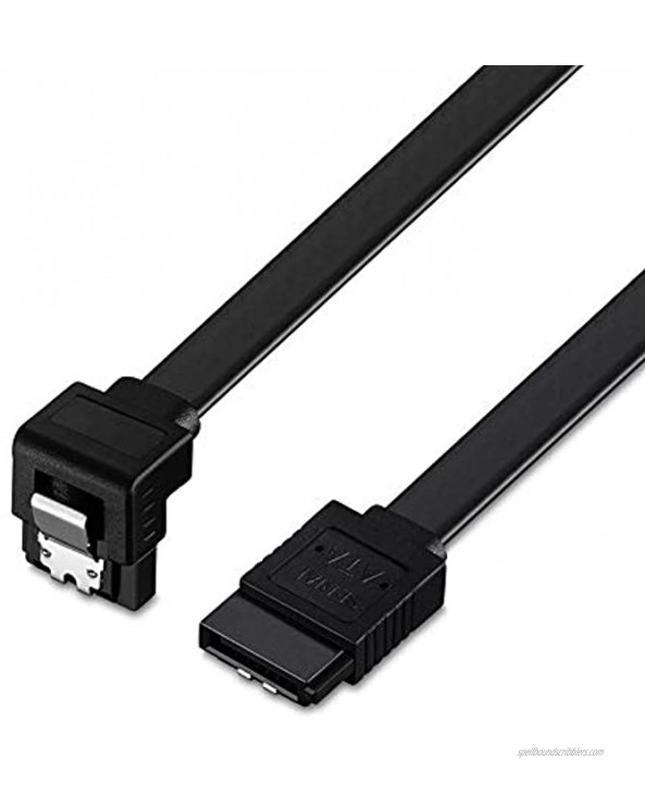 SATA Cable 18-Inch SATA III 6.0 Gbps Cable with Locking Latch 90-Degree and Straight Cable 1.5feetBlack. 1.5feet
